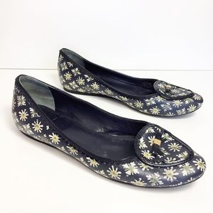 Tory Burch Leather Dakota Floral Flats Size 10